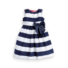 Summer Baby Girls Classic Blue Striped Dress Kids Beach Sundress Cute One-piece Vest Striped Bow Tutu Party Dress(China)