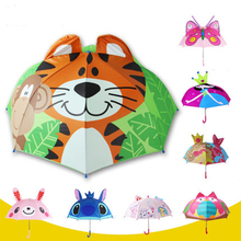 3D Creative Animals Pattern Child Umbrellas Ultra Light Long-handle Umbrella For Baby Sunny and Rainy Dual Use Kids Umbrella