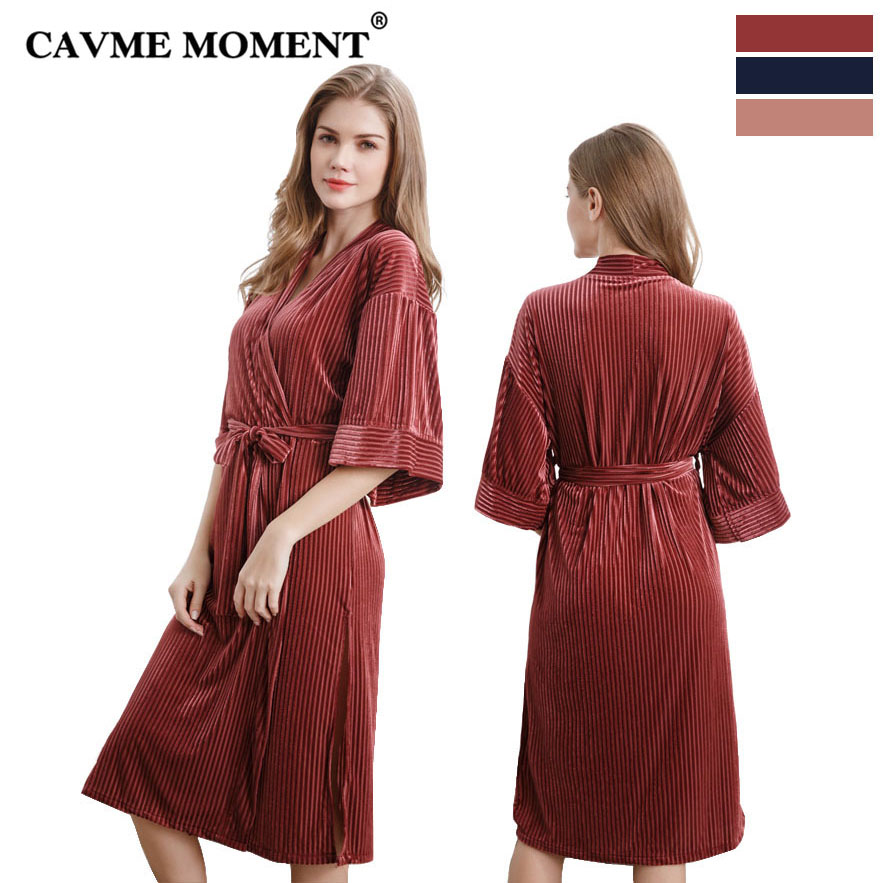 CAVME 2019 Summer Long Velour Robe for Women Ladies Bathrobe Sexy Robes Elegant Half Sleeve Solid Color Nightdress Homewear