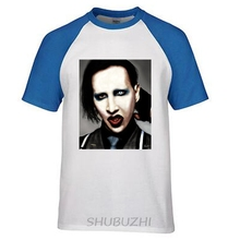 Fashion Marilyn Manson music rock roll T-shirts raglan sleeve O-neck big yard cotton plain tee 3d tshirt ringer Tee