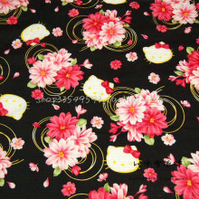 140X100cm Black Background Hello Kitty Pink Red Flowers Cotton Fabric for Girl Clothes Bedding Set Sewing Patchwork DIY-AFCK412