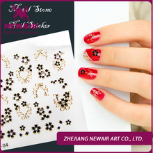 New Design Rhinestone Nail Decoration Luxury Shinny  Black/ Gold Metal Nails Stickers High Quality Nail Decals Free Shipping