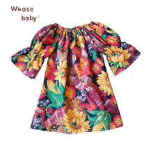 Baby Girl Clothes Flower Printed Dress Newborn Dresses for Girls ElasticShoulderless Vestido Infantil 2018 Fashion Baby Clothing(China)