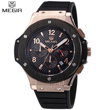 2017 MEGIR Watches Men Luxury Brand Big Dial Casual Quartz Wrist Watch Male Sports Military Chronograph Watches Gold Clock man(China)