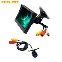 "FEELDO 5"" Digital Windshield LCD Monitor With 16.5mm CCD Reversing Camera Car Rear View System #J-3797"