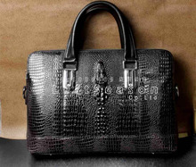 Successful Man Mens Alligator Style Leather Briefcases Laptop Bag Dark Brown BF2(China)