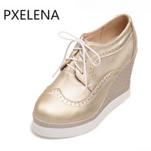 PXELENA Autumn Spring New Arrival Woman Round Toe Wedge High Heel Platform Oxfords Lace Up Pumps Shoes  Female Black Gold White