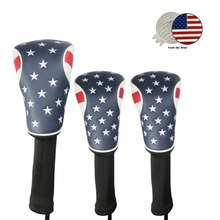 USA FLAG Golf cover Headcover for 1# Driver Headcover, 3#, 5# Fairway Wood Cover with 1 Set Free Clip&Marker Free Shipping(China)