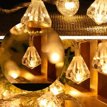 AC 220V 5M 40 LED diamond shaped String Lights Lamp outdoor Fairy Light christmas decorations for home wedding new year navidad(China)