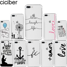 Portuguese Words Amor Love Design Case for iphone 6 6S 5s SE 7 7 plus Soft Silicone Phone Back Cover Capinha Coque