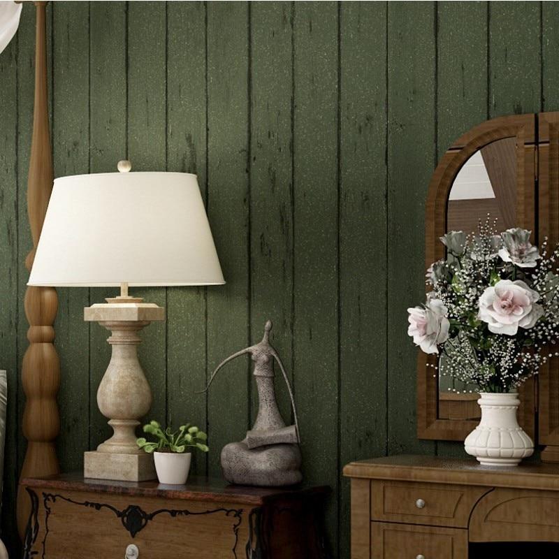 Free Shipping American Retro Ink Green Wooden Nonwoven Wallpaper Living Room Bedroom Restaurant Apparel Shop Wallpaper<br>