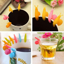New 5Pcs Tea Bag Holder Cute Snail Shaped Silicone Cup Mug Hanging Tool Gift Set Random Color coffee cup holder