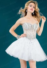 Free Shipping Ball Gown Puffy Sweetheart Lace Up Back Short Tulle Indian Style Prom Dresses With Beadings JO039