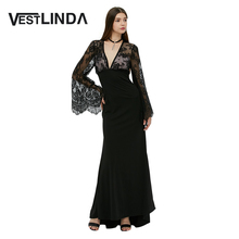 VESTLINDA Sexy Club Dress Women Evening Party Dresses Black Lace Flare Sleeve See-through Backless Long Vestidos Maxi Dress