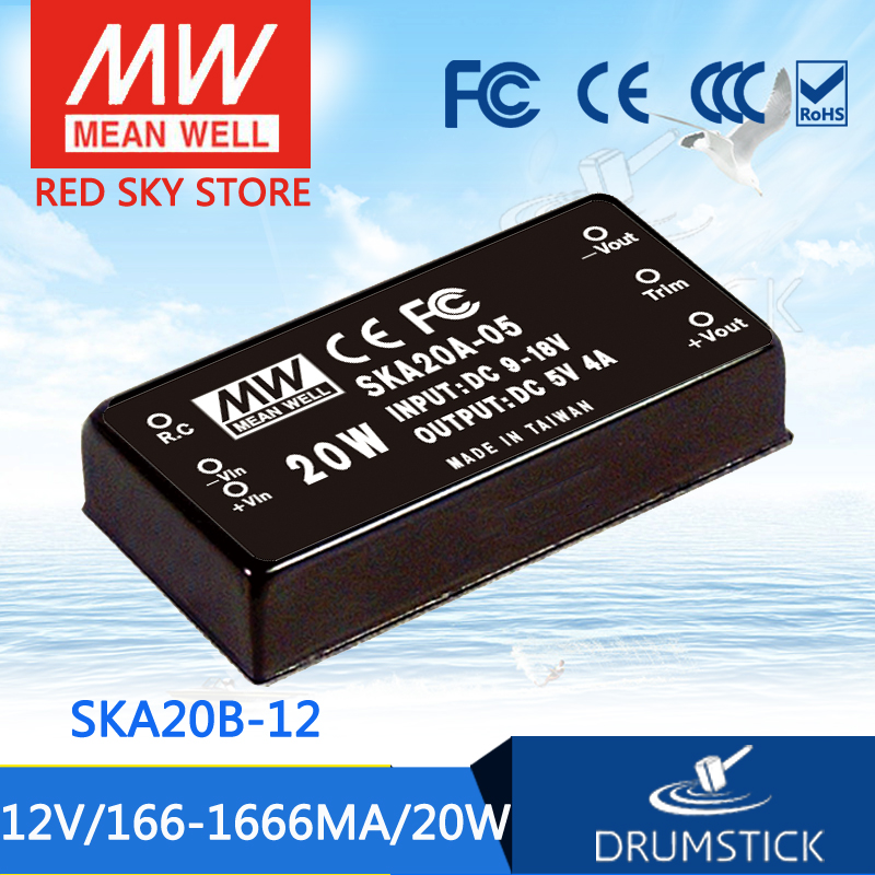 Genuine MEAN WELL SKA20B-12 12V 1666mA meanwell SKA20 12V 20W DC-DC Regulated Single Output Converter<br>