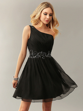 Simple One Shoulder Women Little Black Dresses A-line Chiffon Beaded Casual Summer Cocktail Dresses Informal Real Images