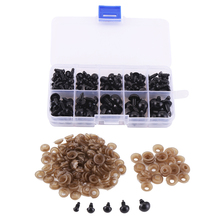 CCINEE 100PCs 6/8/9/10/12mm New Plastic Safety Eye For Teddy Bear Doll Animal Puppet Toys  Black Eyes Used For Doll Accessories