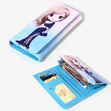 2017 High quality Brand Wallet Women Long PU Leather Wallet Female Cartoon Pattern Long Purse