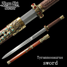Antique sword Tyrannosaurus \ Full Tang sword steel Folding forged  Damascus steel alloy fittings hand-SuanZhiMu Sheath
