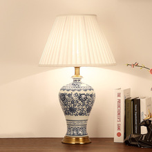Art Chinese porcelain ceramic table lamp bedroom living room wedding table lamp Jingdezhen table lighting lamp blue and white(China)