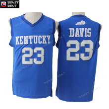 Beast Beat Men's Anthony Davis #23 Kentucky Basketball Jerseys Blue Throwback Retro Summer Breathable Throwback Team Jerseys(China)