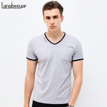 Buy New Mens T Shirts Fashion Summer V-Neck Slim Fit Short Sleeve T Shirt Men Mercerized Cotton Brand-Clothing Casual Men T-Shirt for $11.77 in AliExpress store