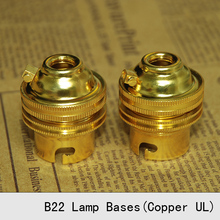 Lamp Bases B22 UL Copper Golden Self-locking Whole Tooth Retro Bulb Socket Pendant Lamp Holders 3PCS/Lot free shipping(China)
