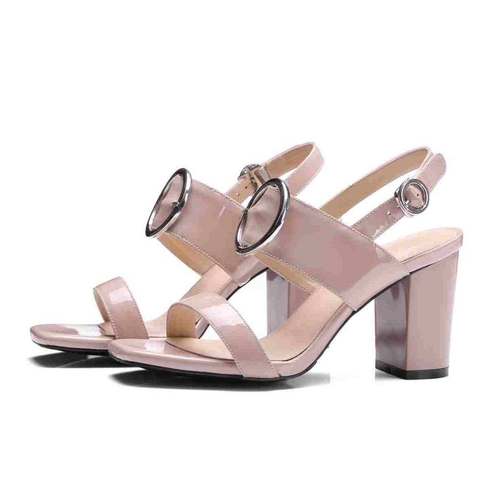 2017 new Krazing Pot square peep toe buckle straps circle metal buckle women sandals gradiator thick high heels quality shoes 53<br><br>Aliexpress