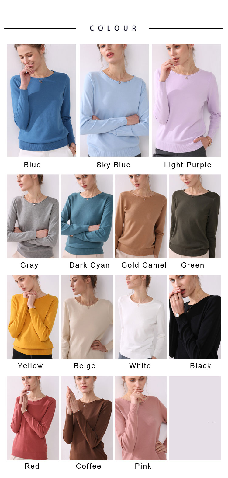Women knitting sweater long sleeves curled O-neck collar female Short Casual Solid fashion thin pullover Ladies winter sweaters 8