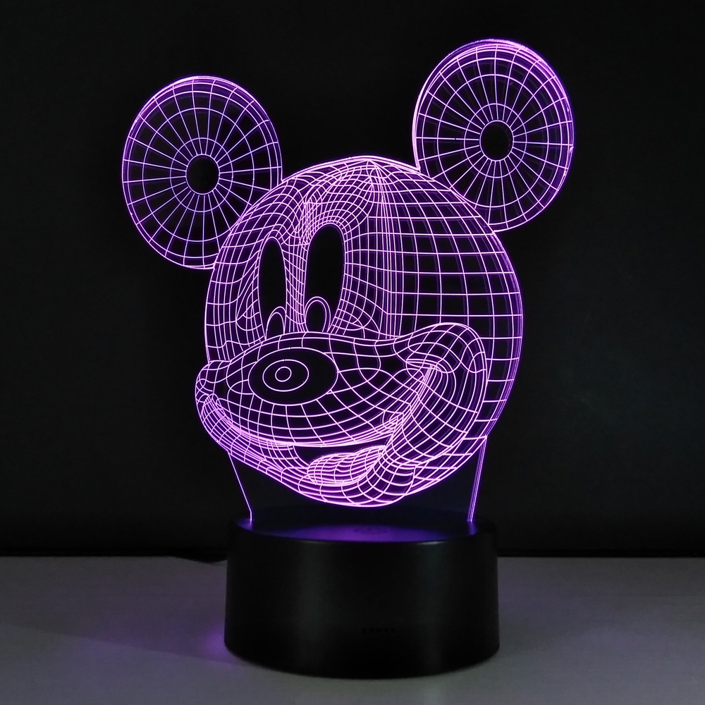 Mickey Mouse 3D Night Light Atmosphere Table Lamp USB Lampara Infantil LED bulbing licht speelgoed fairy light Kids luminarias(China)