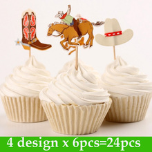 24pcs/bag Cowboy boots hats themes Cup cake Topper Pick event birthday wedding party supplies decoration