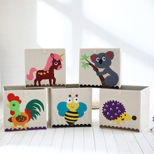 3D Embroider Cartoon Animal Folding Large Storage Box for kid Toys Sorting organizer box clothes book home storage bin organizer(China)