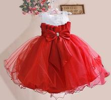 DHL free! Factory Direct Wholesale flower 2016 New Girl Palace Party Dresses Bowknot Sequined Princess Dress 3-8T
