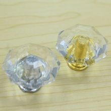 28mm clear acrylic decorate box small knob gold silver drawer shoe cabinet knob pull clear crystal dresser cupboard door handle