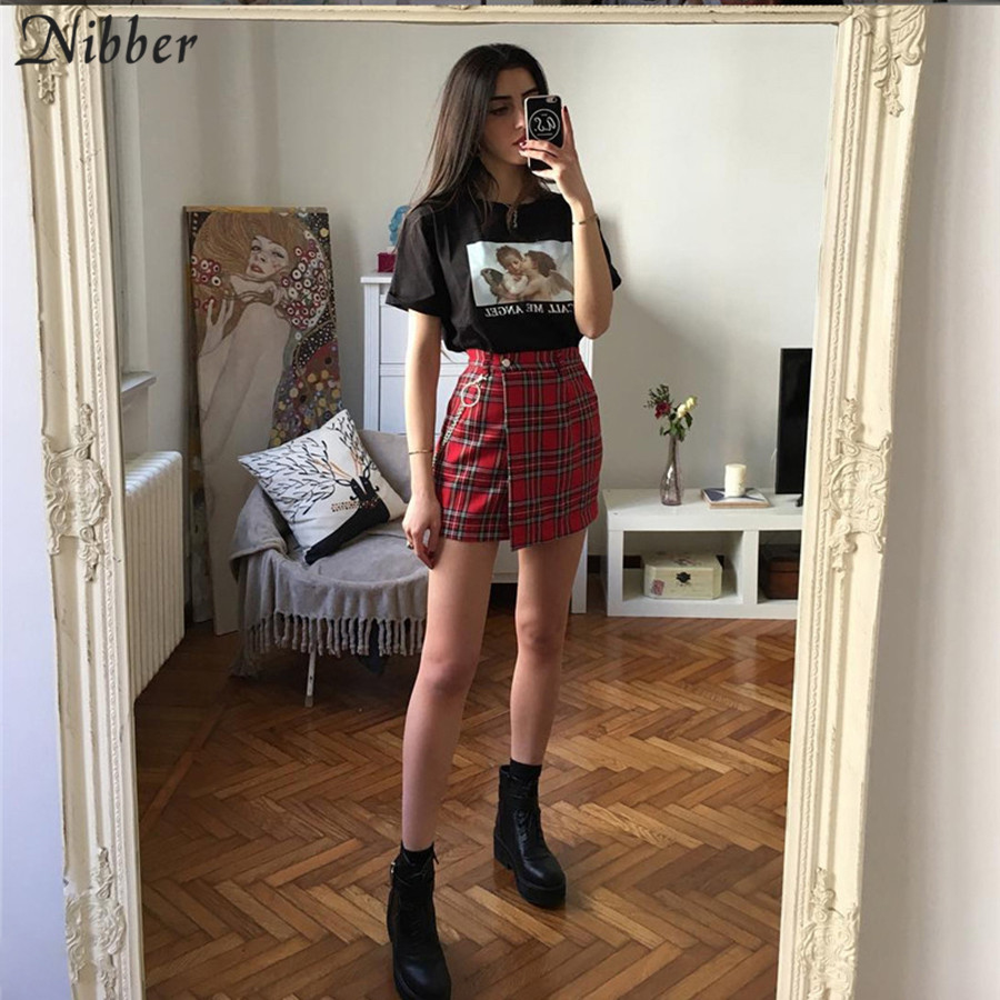 Nibber spring Vintage red Plaid mini skirts Women 19 summer fashion office lady club party casual short pleated skirts mujer 10