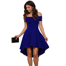 New Sexy Elegant Solid Slash neck dresses women spring autumn half sleeve club party Wine red Blue Vintage A-Line dress vestidos(China)