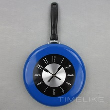 Modern Kitchen Decorative 10Inch Frying Pan Clock Metal Wall Mounted Time Clocks for Home Deccoration