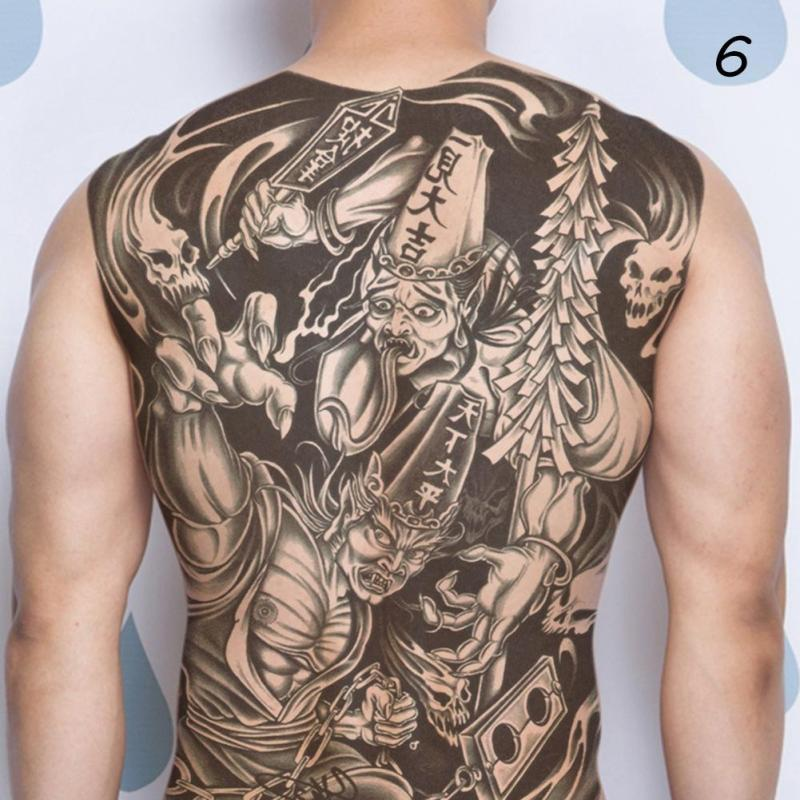 48*35cm Big size buddha ghost totem tattoo stickers men women waterproof full back body temporary tattoos RP2 7
