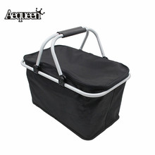 AEQUEEN Foldable Shopping Bags Eco-friendly Reusable Grocery Bags Large Supermarket Bag Folding Shopper Tote Trolley Cases Black(China)