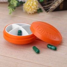 Fashion Orange Portable Round 4 Compartment Pill Case Pill Organizer Medicine Box Drugs Pill Container