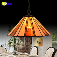 FUMAT European Brief Vintage Art Tiffany Pendant Lights Hexagonal Lightings For Living Room Dining Room LED Stained Glass Lamps(China)