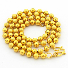 Gold Filled 5mm Dull Polish Beads Chain Necklace for women 45cm,fashion pure gold color Beads Link Chain necklace for pendant