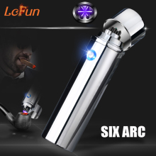 Cool Six Arc Pulsed Lighter Windproof Cigarette Lighters Plasma Smoking Pipe USB Charging A portable Electronic Lighters(China)