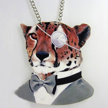 Wholesale Wood Tiger Pendants&Necklace Personalized Link Chain Boe Tie Fashion Jewelry Alloy Necklace Party Decoration
