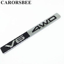 CARORSBEE 3D Metal V6 4WD Emblem Badge Car sticker engine displacement Decal For Toyota corolla avensis rav4 auris camry yaris