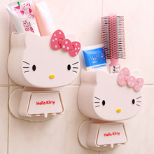 1 PC Multifunction Cartoon Toothbrush Holder Hello Kitty Storage Box Bathroom Accessories Paste Container For Bathroom C0(China)