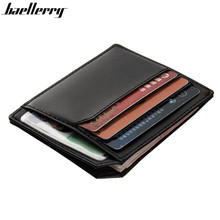 Fashion Solid PU Leather Credit Card Holder Slim Wallet Men Luxury Brand Design Business Card Organizer Id Holder Case No Zipper(China)