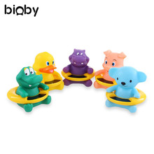 2 in 1 Infant Baby Bath Water Thermometer Cartoon Animals Duck Bear Pig Baby Tub Float Toy Temperature Tester Kid Bath Supplies(China)