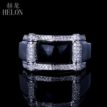 HELON 6.5x9.5mm Genuine Agate & Fine Diamonds Men's Ring Engagement Wedding Sterling Silver 925 Fashion Designer Pinky Band Ring(China)