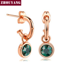 Simple Style Green Cystal Rose Gold Color Drop Earrings For Women Mix Colors Wedding Party Jewelry ZYE207 Top Quality(China)
